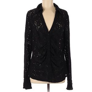 ETHYL Open Lace Black Stretch V Neck Shirt Sz M